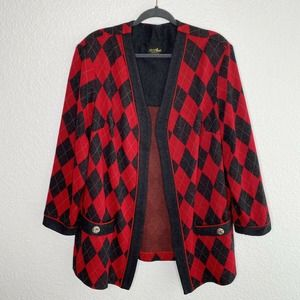 A. S. Elliot Vintage Cardigan Sweater Red Gray